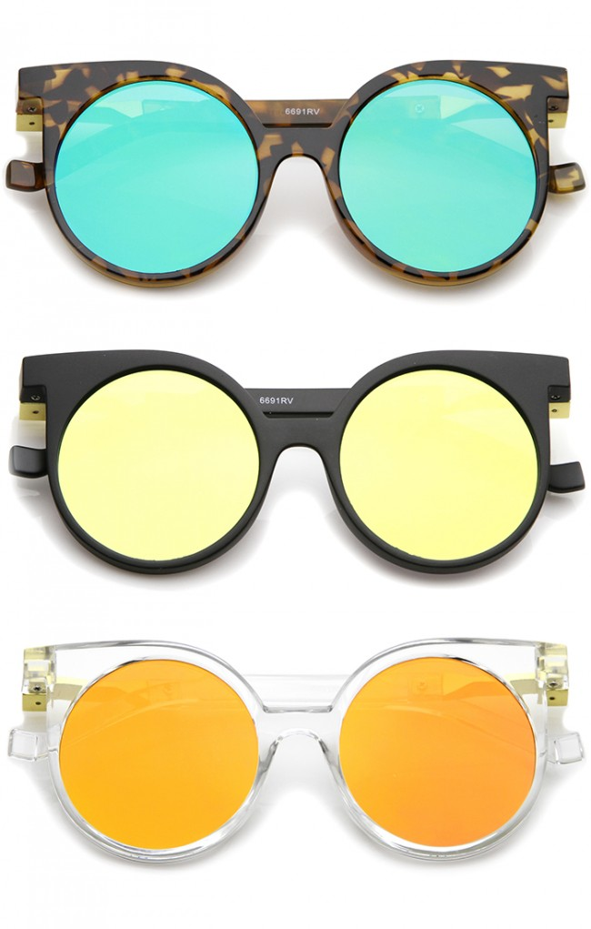 Round Sunglasses Mirrored Flat Geometric Lens 50mm