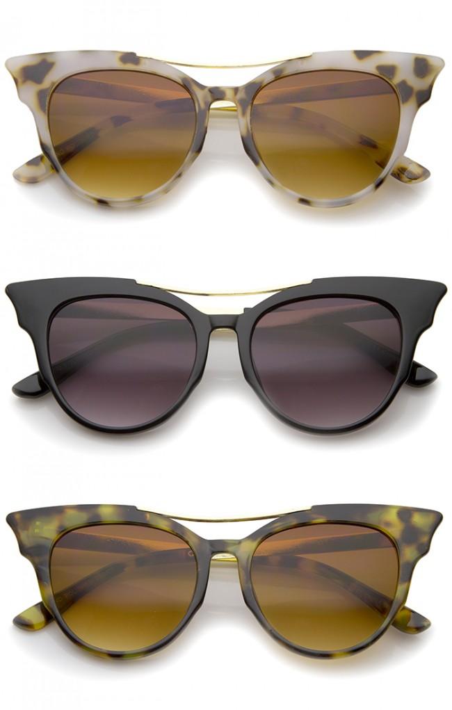 b4b1a5315a1d8 Women s Fashion Metal Temple Crossbar Bold Cat Eye Sunglasses ...