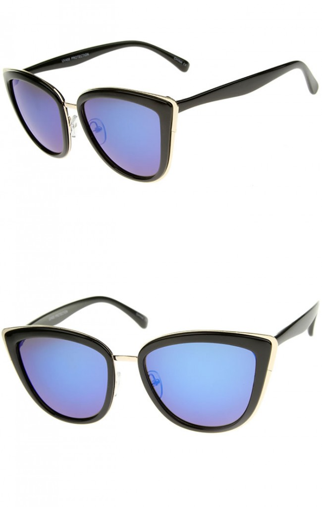 High Fashion Metal Outer Frame Color Mirror Lens Oversized ...
