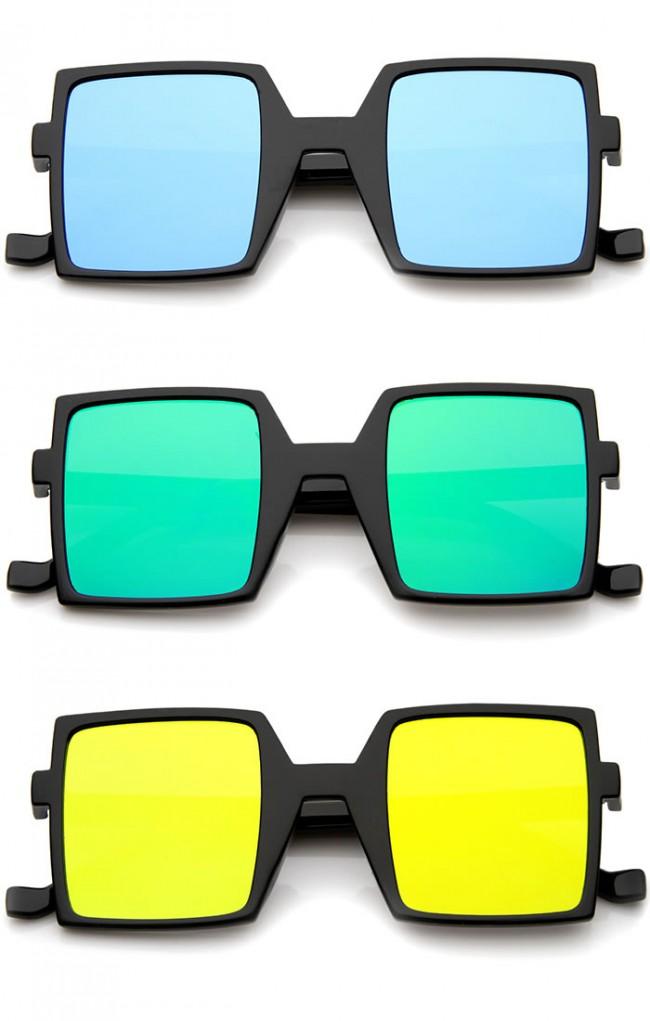 Retro Block Television Flash Mirrored Flat Lens Bold