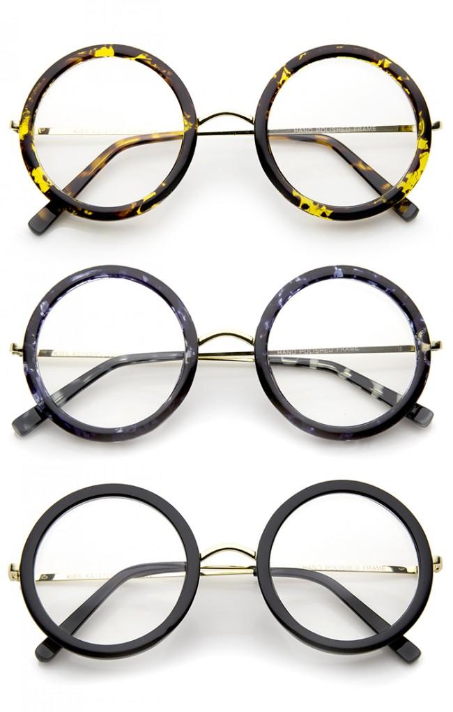 Lennon Retro Fashion Thick Frame Metal Temple Round Clear Lens ...