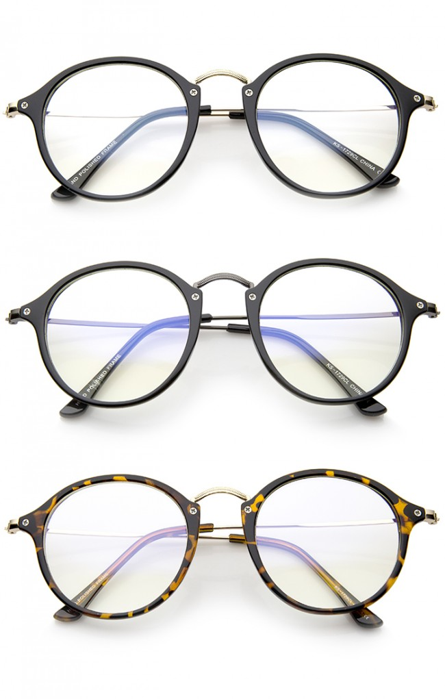 Classic Retro Lightweight Frame Metal Temple Clear Lens Round ...