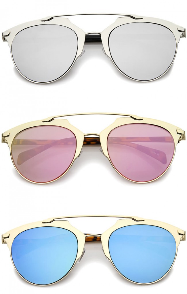 Modern Sunglasses  fashion metallic frame color mirrored lens pantos aviator sunglasses