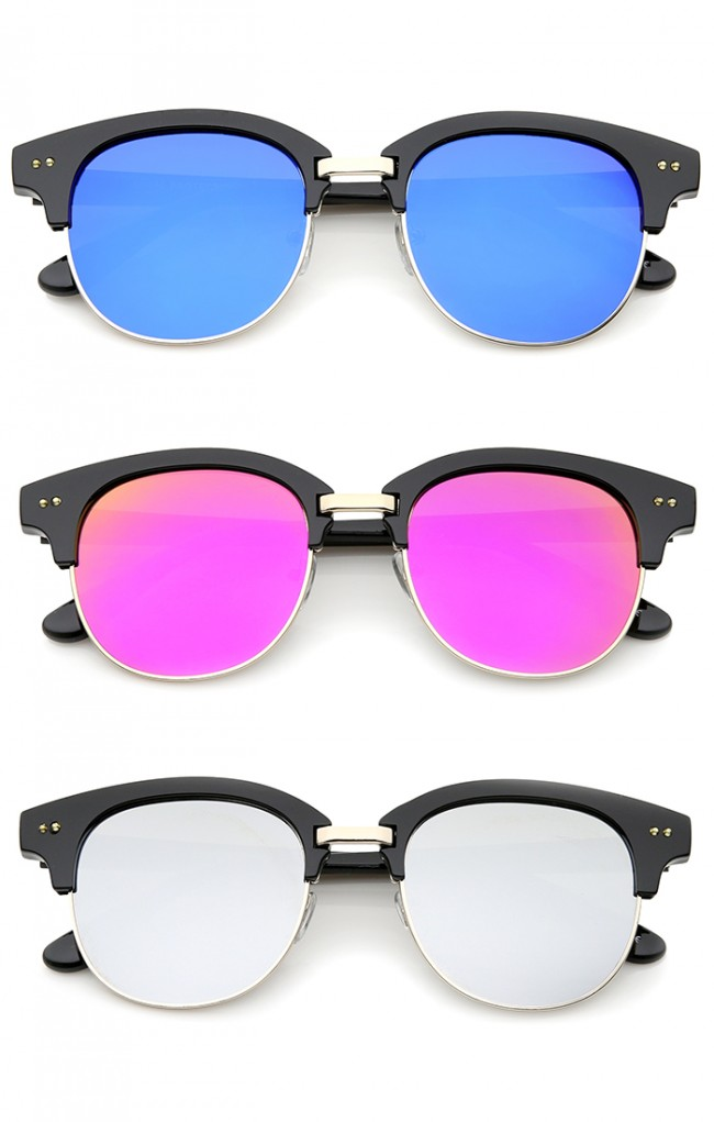 4bd1b935ff Bold Metal Nose Bridge Color Mirror Lens Round Half-Frame Sunglasses 52mm ·  Zoom