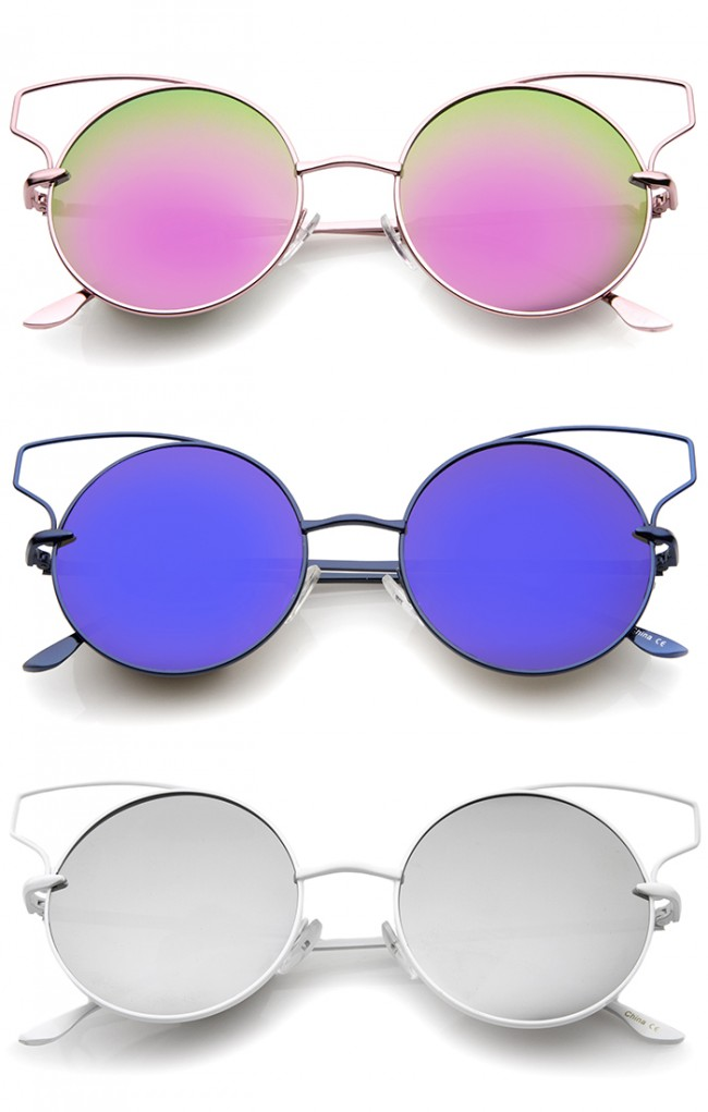 597fa5ea76a ... Metal Frame Color Mirror Lens Round Cat Eye Sunglasses 52mm. Zoom