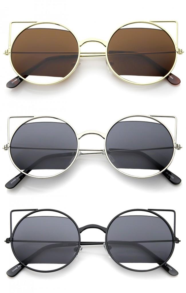 5d17d24ed Women's Cutout Metal Open Frame Lens Round Cat Eye Sunglasses ...