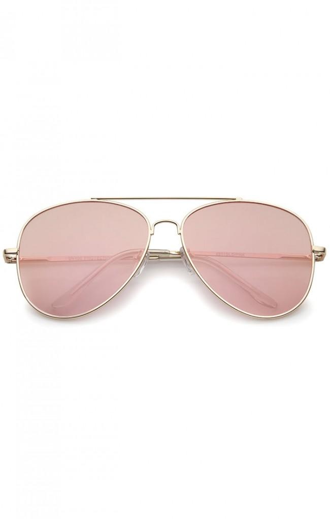 9df29f0db41 ... Gold Frame Pink Mirror Flat Lens Aviator Sunglasses 60mm · Zoom