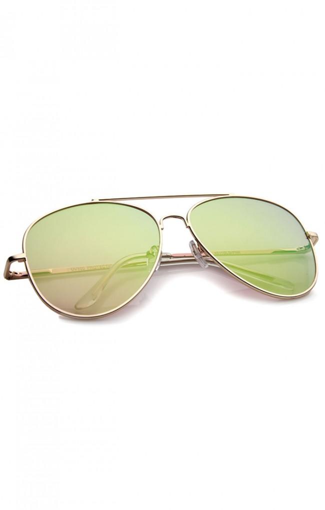 59fe351619 Large Metal Rose Gold Frame Pink Mirror Flat Lens Aviator Sunglasses 60mm.  Zoom