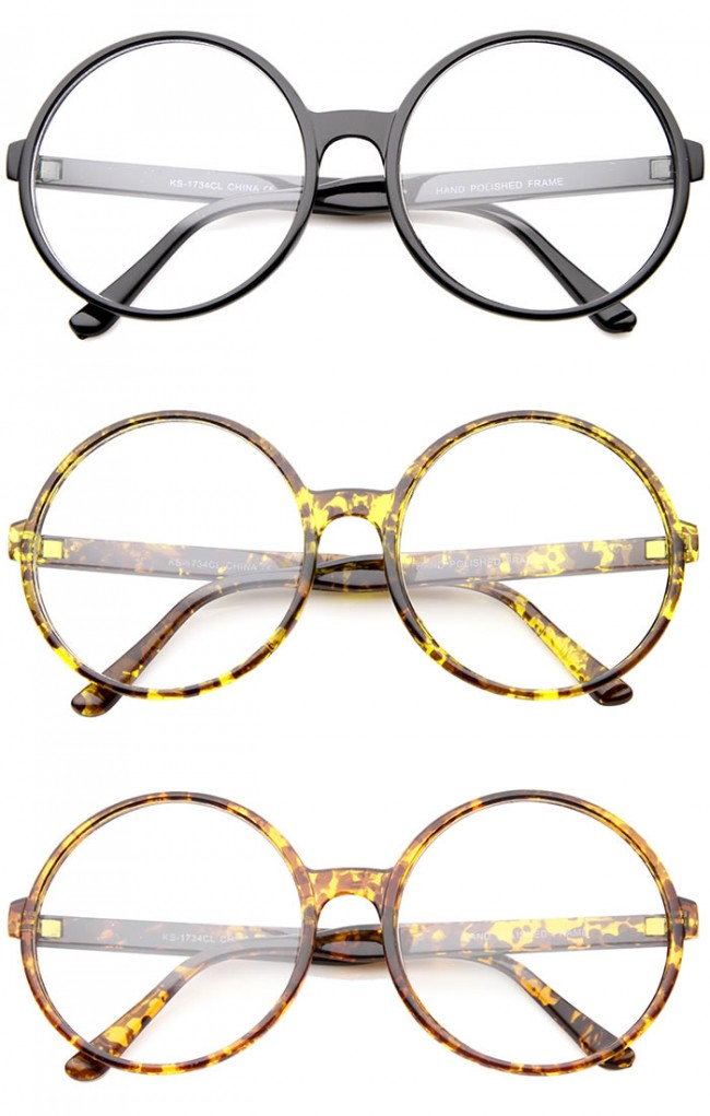 797d29241e Retro Oversize Clear Lens Round Spectacles Eyewear Glasses 60mm · Zoom
