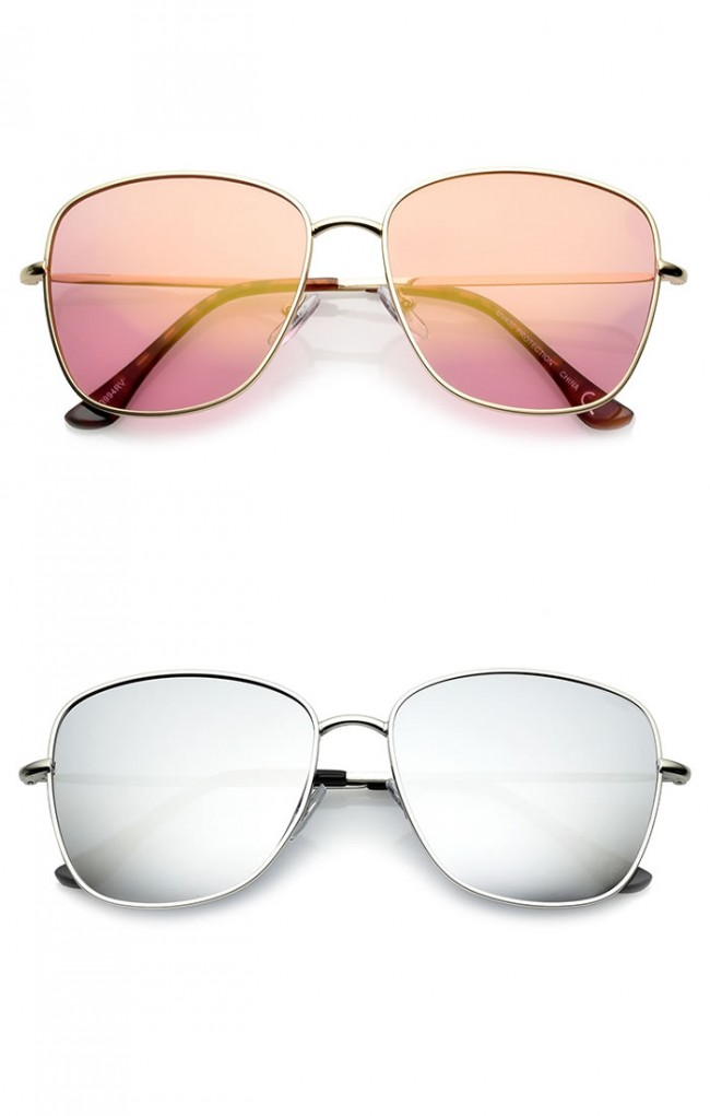 eba0973112 Classic Metal Slim Temple Tinted Mirror Lens Square Sunglasses 57mm. Zoom
