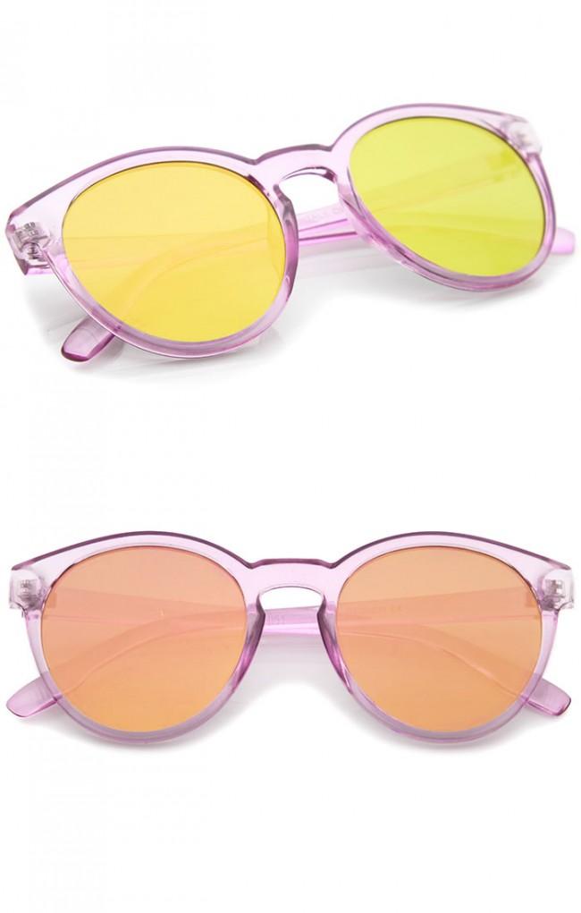 252364725d Modern P3 Keyhole Bridge Round Mirror Flat Lens Horn Rimmed Sunglasses 49mm.  Zoom