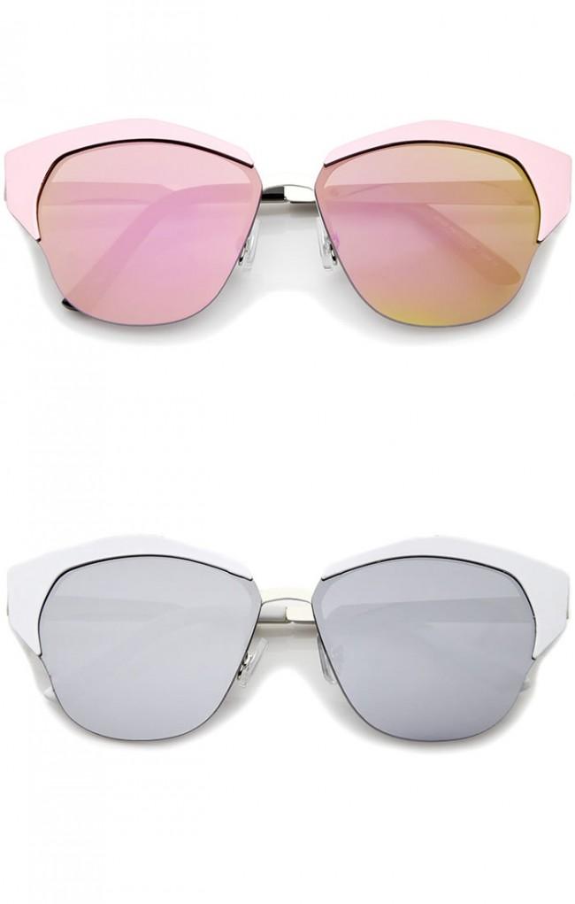 9276a326fdd66 Women s Semi-Rimless Color Mirror Flat Lens Cat Eye Sunglasses ...