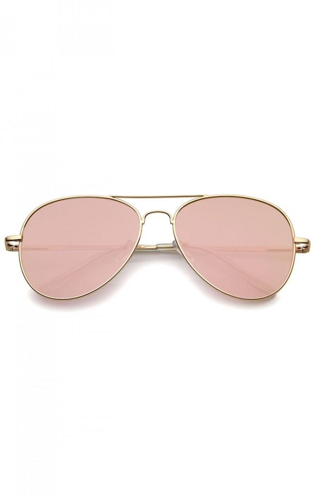 Small Lens Aviator Sunglasses  matte metal rose gold pink mirror flat lens aviator sunglasses 56mm