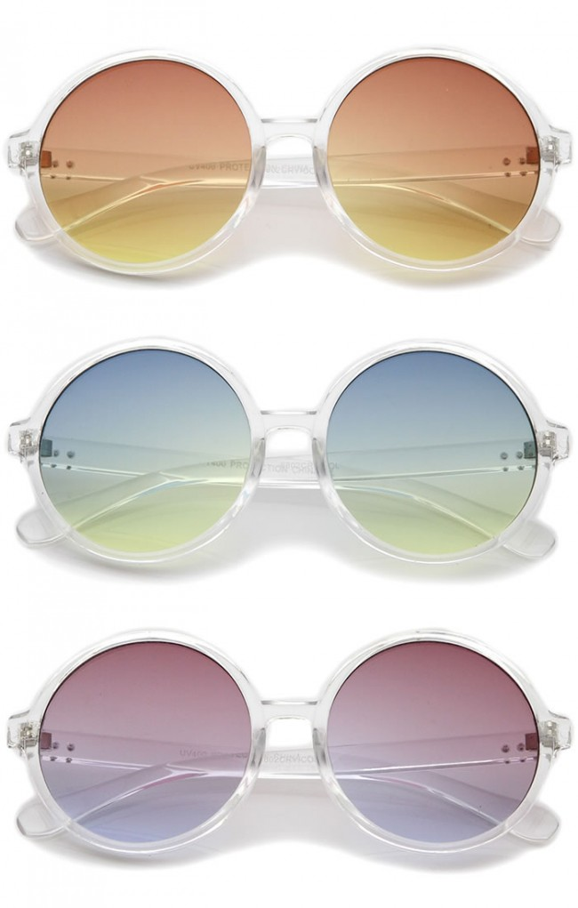 Retro Clear Frame Gradient Flat Lens Oversize Round Sunglasses 54mm