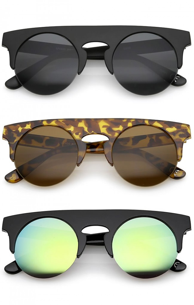 c9d222ff313 Modern Flat Top Horn Rimmed Round Flat Lens Semi Rimless Sunglasses 48mm ·  Zoom
