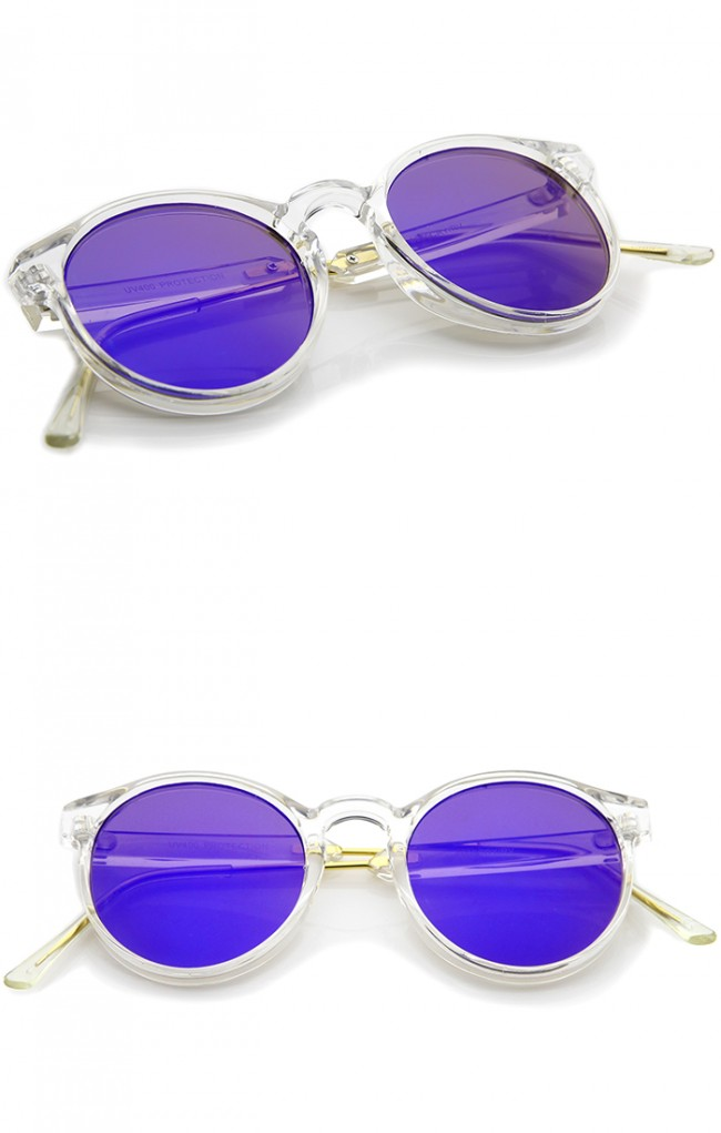 e95ef78166 Clear Frame Metal Temple Color Mirror Flat Lens P3 Round Sunglasses 49mm ·  Zoom