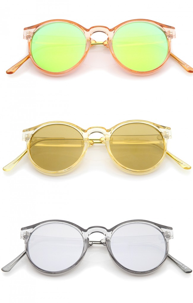 ac1830f743 Retro Translucent Frame Color Mirror Flat Lens P3 Round Sunglasses 49mm.  Zoom
