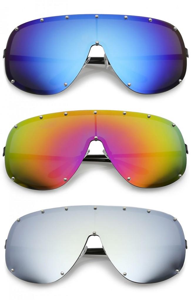 1104bf2f2af Futuristic Oversize Rimless Colored Mirrored Mono Lens Shield ...