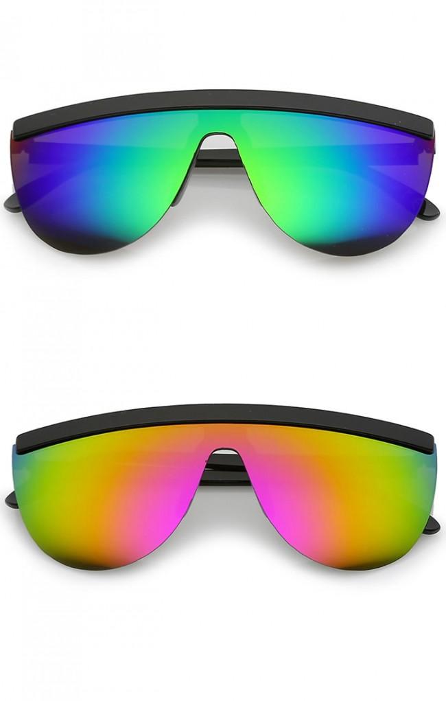Colored Mirror Sunglasses  futuristic semi rimless flat top colored mirror mono lens shield