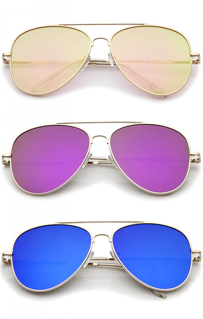 a3b94a957 Large Metal Frame Colored Mirror Flat Lens Aviator Sunglasses 60mm