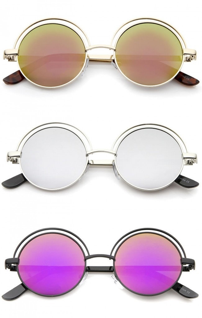 98ac1aa8ddccd Retro Open Metal Colored Mirror Flat Lens Round Sunglasses 48mm. Zoom
