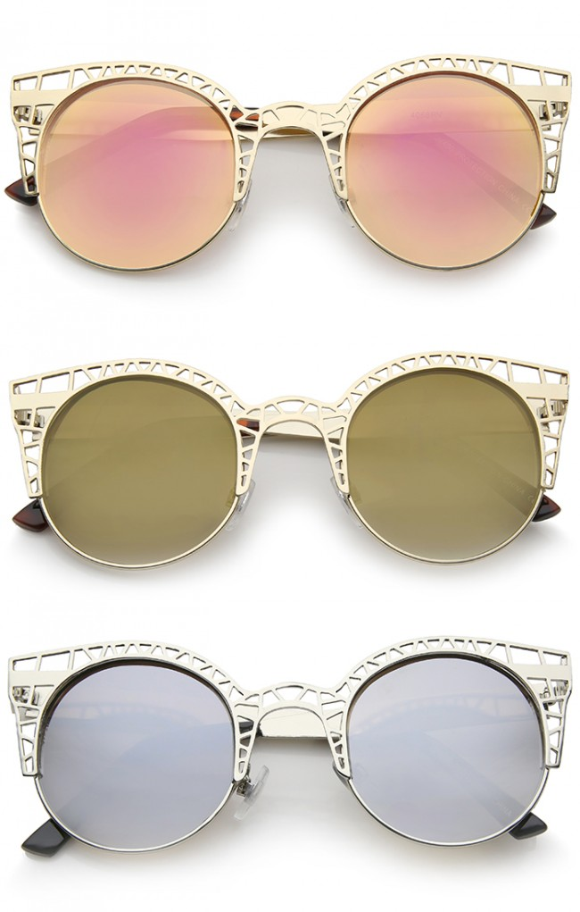 69ac3e8336d5 Women S Metal Cut Out Frame Colored Mirror Lens Round Cat Eye