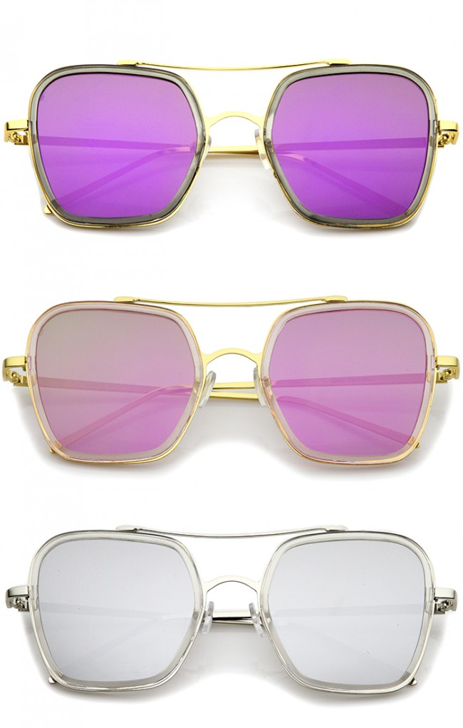 7a367885d05 Modern Slim Temple Browbar Color Mirrored Flat Lens Square Sunglasses 52mm  · Zoom
