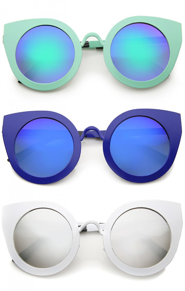 5ccd2c31fb5 Women s Metal Frame Oversize Color Mirror Lens Round Cat Eye ...
