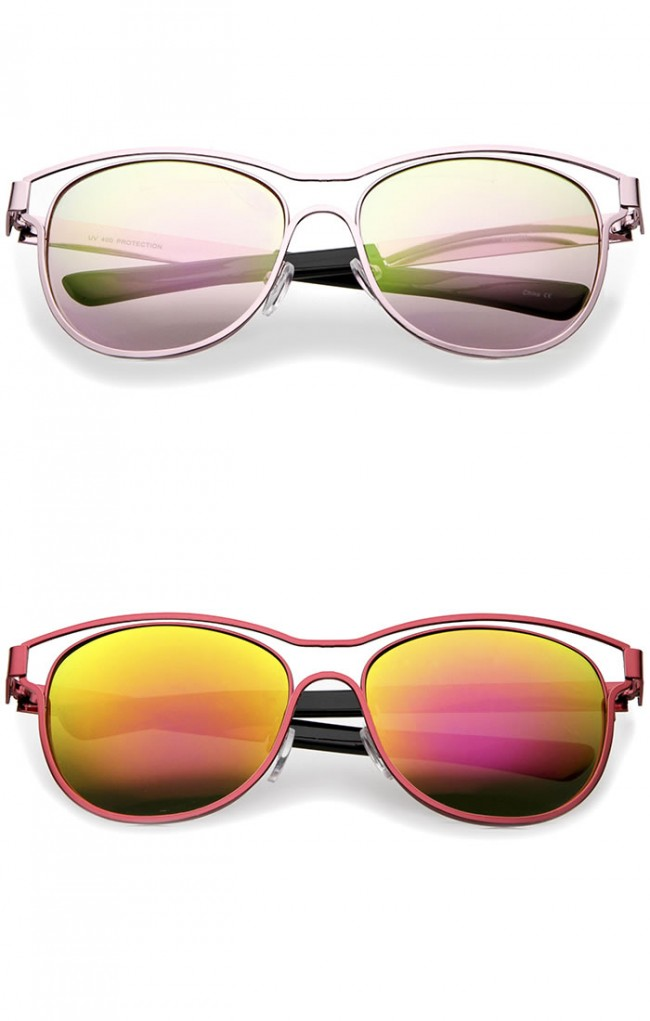 1cea6dd65f Modern Open Metal Frame Colored Mirror Lens Horn Rimmed Sunglasses 56mm ·  Zoom