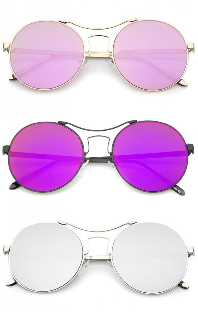 Lens Colored Round Brow Sunglasses Thin Frame Flat Curved Modern 55mm Mirror Bar Metal QxtsCdhr