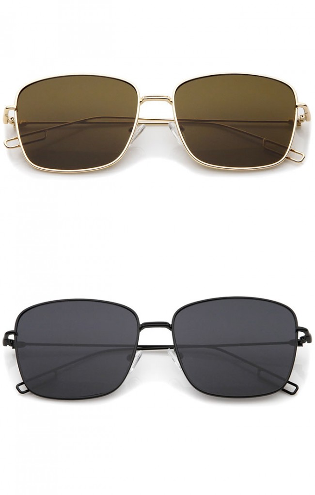 088750d709 Minimal Wire Metal Frame Hook Temple Flat Lens Square Sunglasses 58mm · Zoom