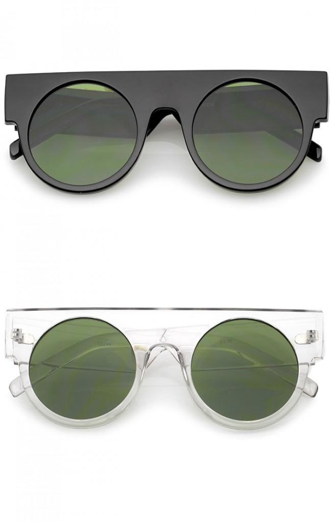 bc07ff6906 Futuristic Flat Top Wide Temple Flat Lens Round Sunglasses 47mm