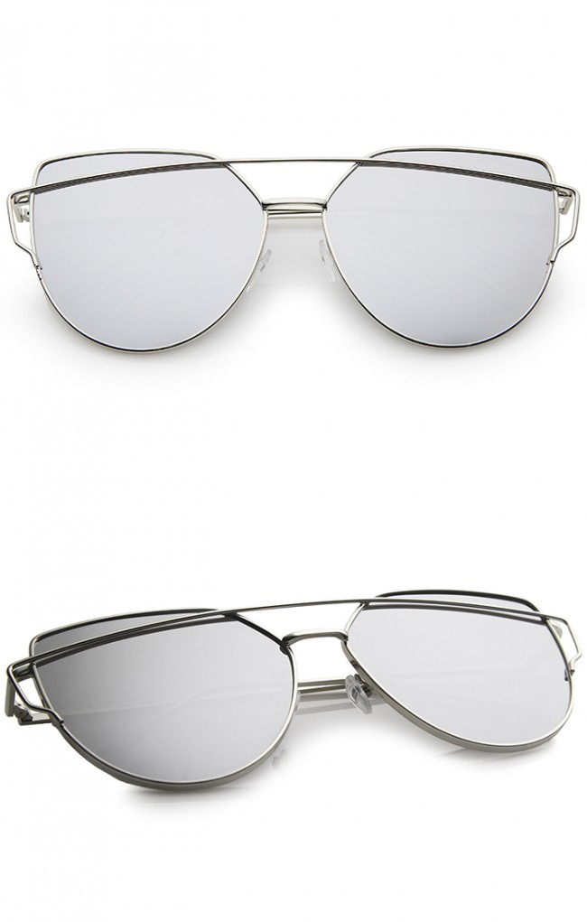 d547226957 Oversize Metal Frame Thin Temple Color Mirror Flat Lens Aviator Sunglasses  62mm · Zoom