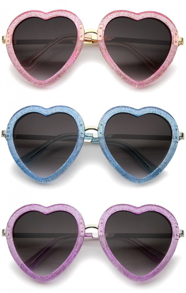 f7e615d29ee1 Women's Transparent Glitter Frame Metal Temple Gradient Lens Heart  Sunglasses 53mm · Zoom