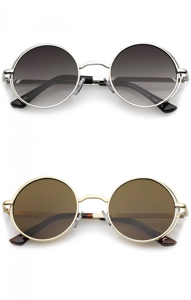 a5d46e0be3a Retro Open Metal Frame Slim Temples Flat Lens Round Sunglasses 49mm · Zoom