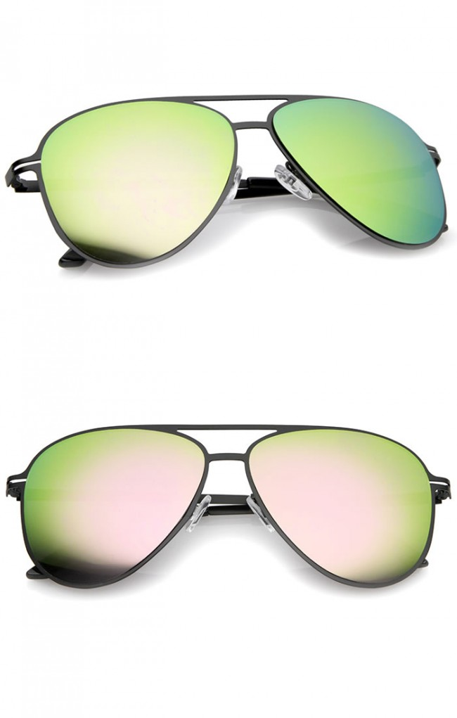 fc596cb00b5 Modern Thin Frame Brow Bar Colored Mirror Lens Aviator Sunglasses 58mm. Zoom