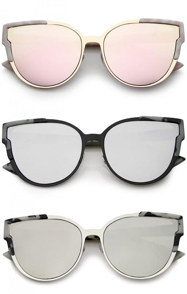 91c862ad8e Women s Metal Frame Colored Mirror Flat Lens Cat Eye Sunglasses 56mm · Zoom