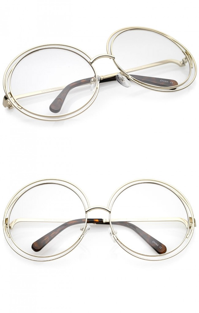 282478585a Women s Oversize Wire Frame Clear Lens Round Eyeglasses 62mm · Zoom