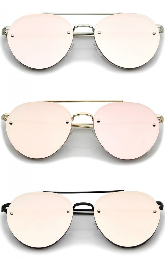 9479ef5852 Modern Slim Temples Brow Bar Rimless Pink Mirror Flat Lens Aviator  Sunglasses 59mm