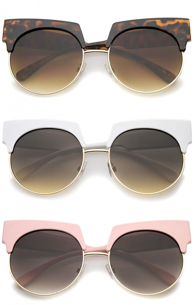 Oversize Bold Brow Wide Temple Round Lens Half-Frame Cat Eye ...