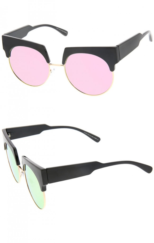 Bold Wide Temple Colored Mirror Round Lens Half-Frame Cat ...