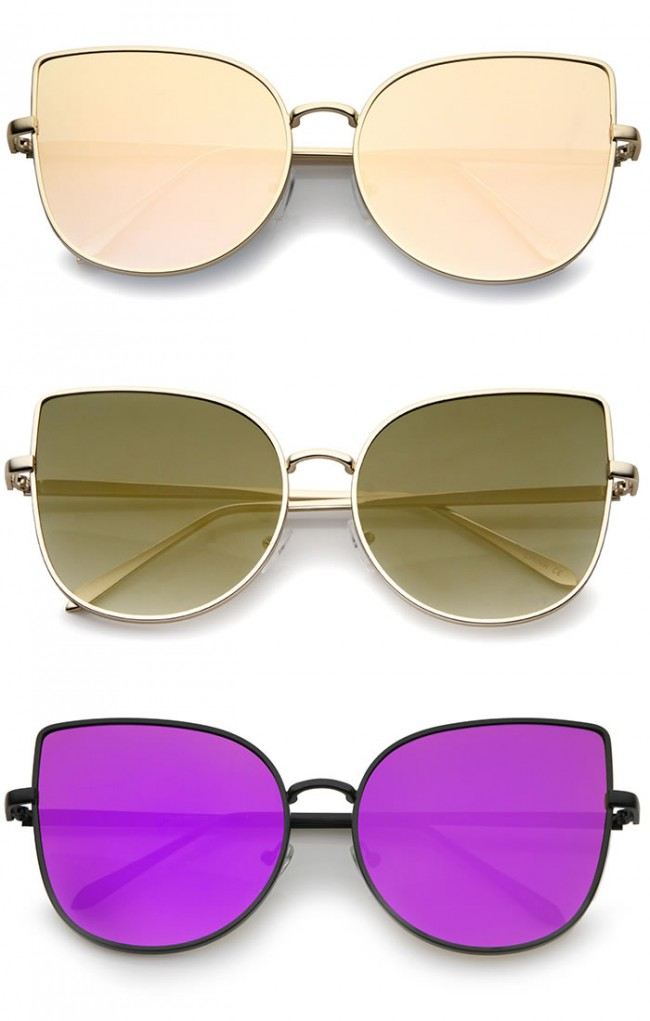 73f4473ce57 Oversize Slim Metal Frame Colored Mirror Flat Lens Cat Eye Sunglasses 58mm  · Zoom