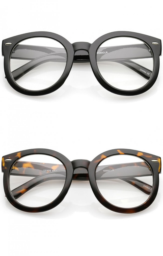 Glasses Frames With Thick Arms : Oversize Thick Arms Round Clear Lens Horn Rimmed ...