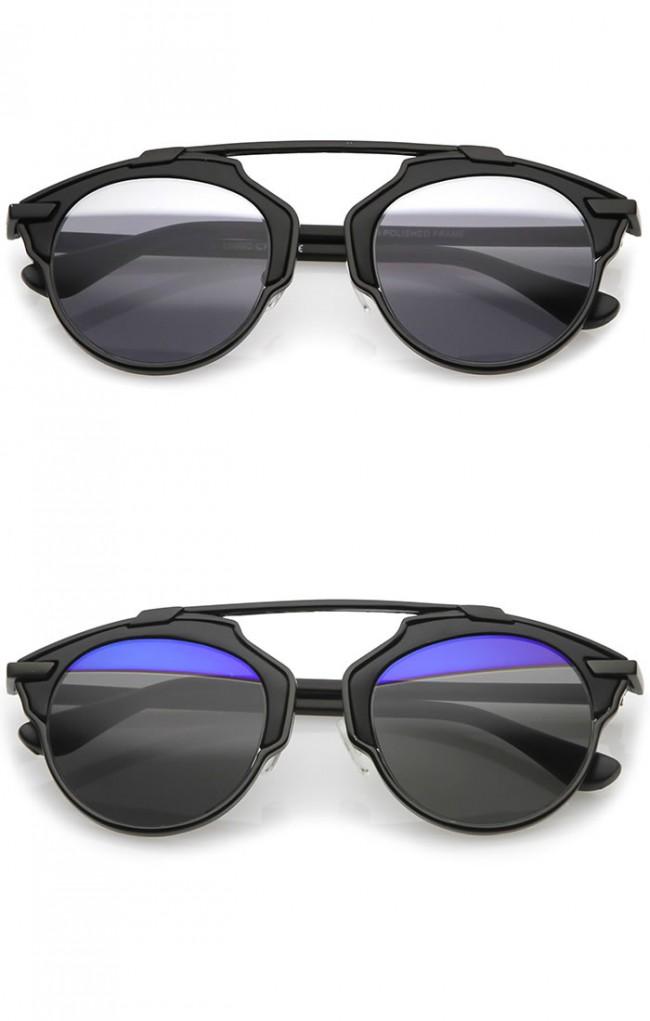 976103d12c Modern Metal Crossbar Partial Mirrored Lens Pantos Aviator Sunglasses 48mm.  Zoom