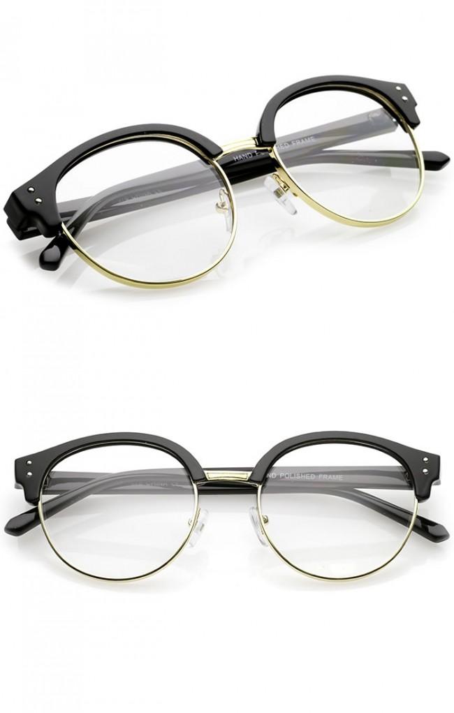Classic Horn Rimmed Round Clear Lens Half Frame Eyeglasses ...