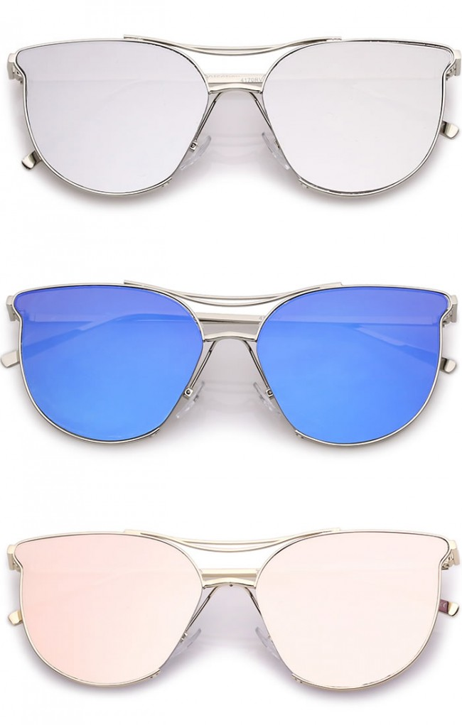 7cf5da72a5 Modern Double Nose Bridge Round Mirrored Flat Lens Cat Eye Sunglasses 55mm.  Zoom