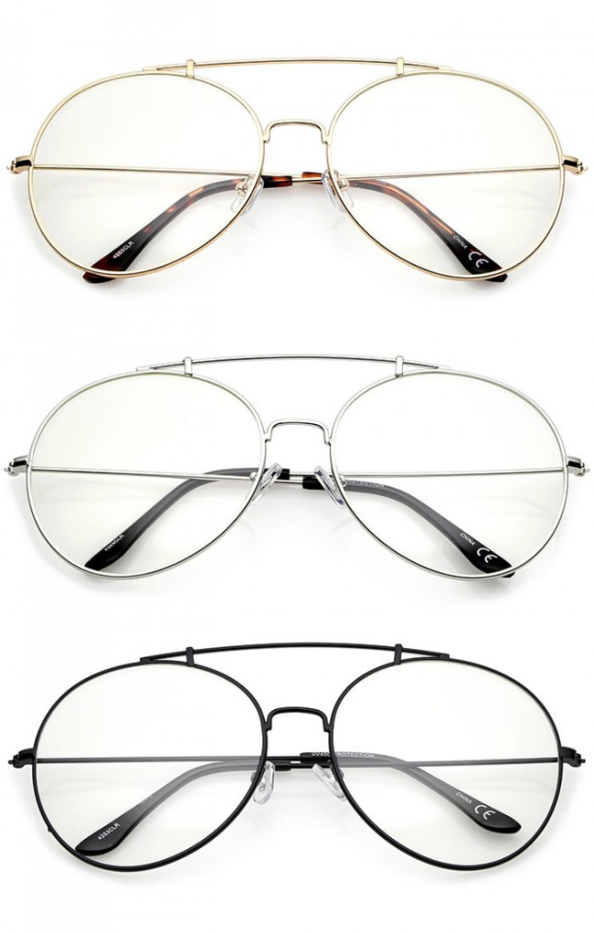 Classic Oversize Metal Frame Slim Temple Crossbar Clear Lens Round ...
