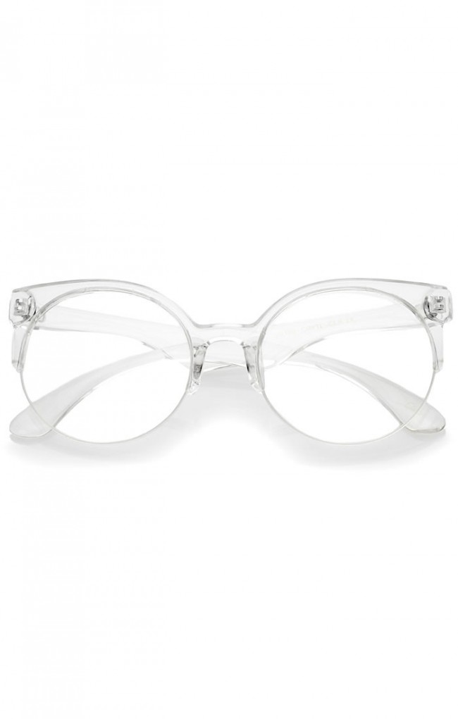 Modern Translucent Frame Round Clear Lens Semi-Rimless ...
