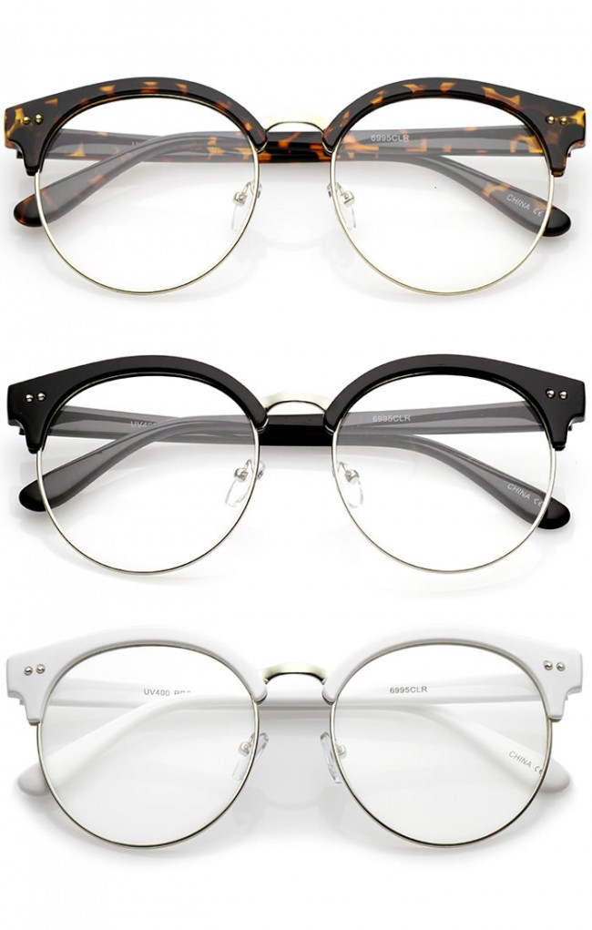 Classic Horn Rimmed Round Clear Flat Lens Half Frame ...