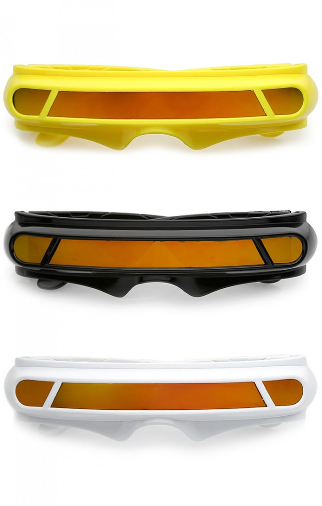 a67d0519e9 Futuristic Cyclops Shield Colored Mirror Mono Lens Wrap Sunglasses 147mm ·  Zoom